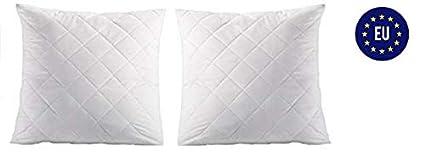Amazing Girl Almohada Juego de 2 Color Blanco para alérgicos 100% Microfibra Niños Relleno Cojín de Dormir, Blanco, 2 x 40x40 cm