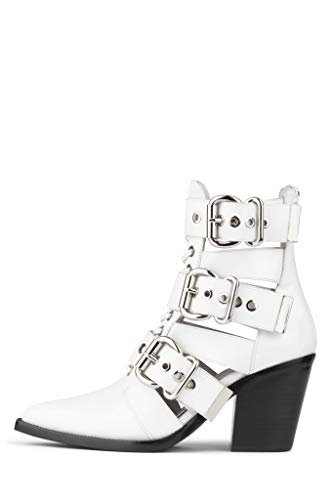 Jeffrey Campbell Women's Caceres Buckle Booties, White Box, 6 M US