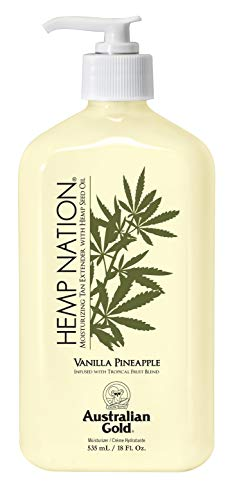 Australian Gold Hemp Nation Moisturizing Tan Extender Lotion, Hemp Seed Oil, Vanilla Pineapple, 18 Ounce