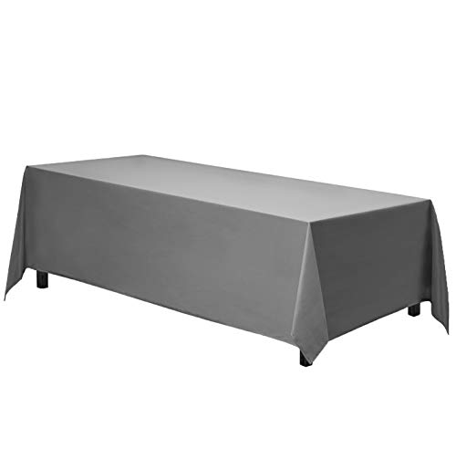 Gee Di Moda Rectangle Tablecloth - 90 x 132' Inch - Charcoal Rectangular Table Cloth for 6 Foot Table in Washable Polyester - Great for Buffet Table, Parties, Holiday Dinner, Wedding & More