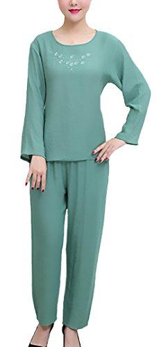 Pigiama Donna Taglie Forti Elegante Manica Lunga Girocollo Solido Tops+ Lungo Pantaloni Due Pezzi Larghi Chic Unique Traspirante Comfort Homewear Pigiami Verde