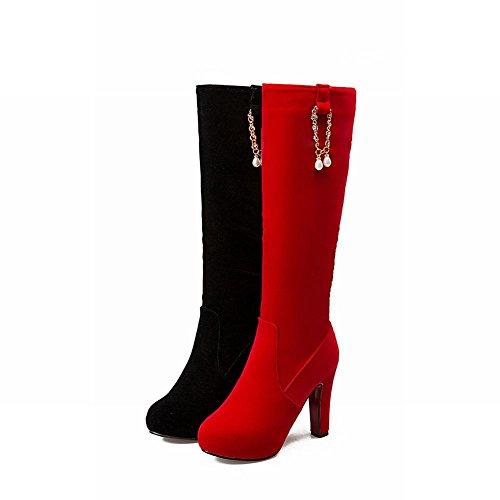Foot Beaded Zipper Womens Knee Boots High Elegant Heel High Charm Red qZwp1p