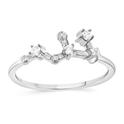 Celestial Star Horoscope LEO Astrology Star .10 Diamond Ring in Sterling Silver, Size -