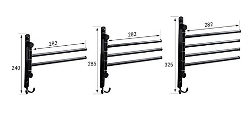 HOMEE Black All Copper Revolving Towel Rack Stainless Steel Movable Towel Bar,B