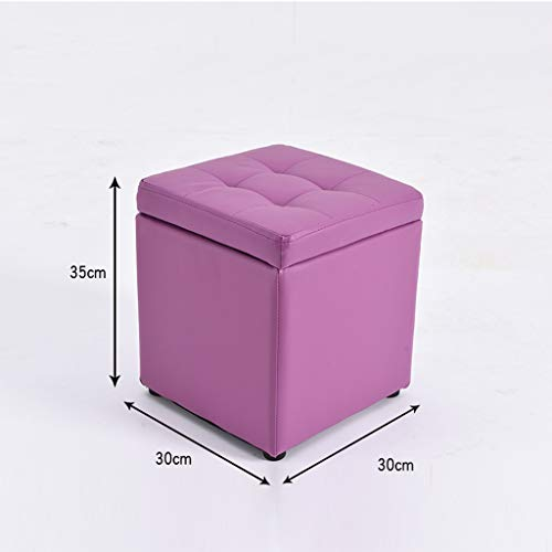 SYFO Living Room Storage Stool Square Black Convenient Moving Leather Sofa Bench to Choose from Stool (Color : Purple)