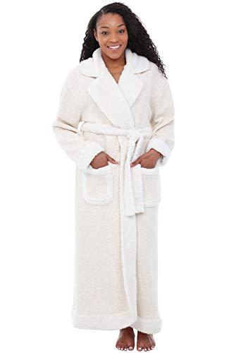 Alexander Del Rossa Womens Fleece Robe, Long Bathrobe, Small Medium Oatmeal with Sherpa Accents (A0264OATMD)