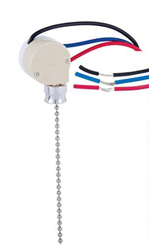 B&P Lamp 3-Way Nickel Ceiling Fan (Shade 3 Way Switch)