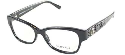Versace Eyeglasses VE 3196 Eyeglasses GB1 Shiny Black with studs - Versace Clear Glasses