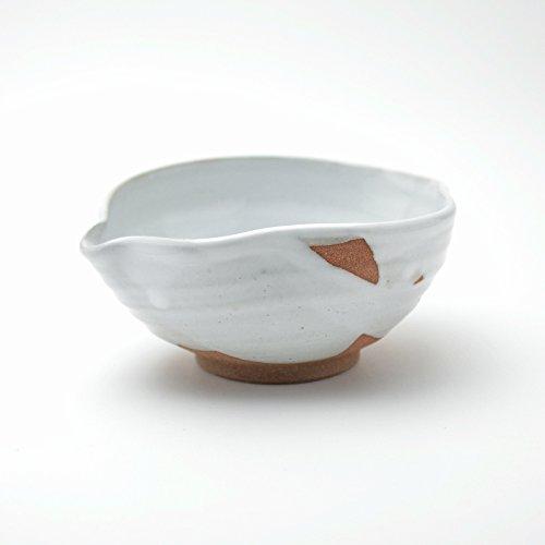 White glaze tokkuri sake lipped bowl made by Sohei Matsuno. Hagi yaki Japanese ceramic.