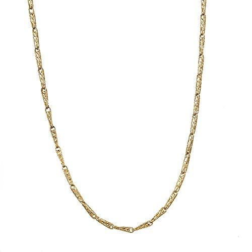 14 ct Gelb Gold Sparkly Fancy Finish gemischt Link Texturen Halskette - Länge Optionen  41 46 51 61 86  61.0 Zentimeter
