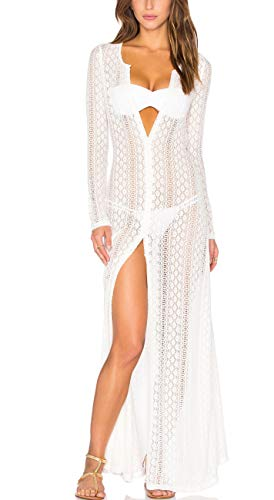 VenuStar Womens Long Embroidered Lace Kimono Cardigan Half Sleeves One Size 04White