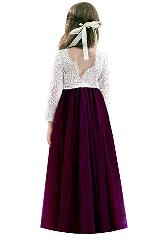 Lace Long Sleeve Skirt - 2Bunnies Girl Backless Peony Lace Back A-Line Straight Tutu Tulle Party Flower Girl Dresses (Plum Maxi, 6)