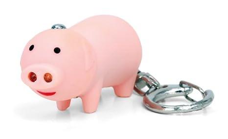 Llavero de cerdo con luz LED y sonido, de Kikkerland, rosa
