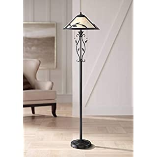 Feuille Rustic Country Cottage Floor Lamp Dark Bronze Mica Shade Leaf Vine for Living Room Reading Bedroom Office - Franklin Iron Works