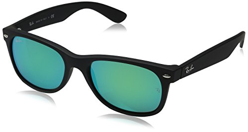 Ray-Ban RB2132 New Wayfarer Mirrored Sunglasses, Black Rubber/Green Flash, 55 mm