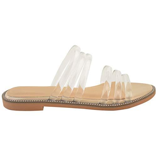 Sandalias Perspex Thirsty Nude Gel Tacón Fashion Tiras Heelberry Verano Por Vacaciones Claro Bajo Plano Playa Mujer Charol nYa8nxqwg