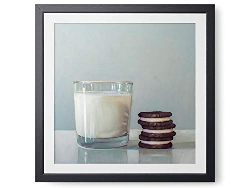 Milk and Cookies - Oil Painting Giclée Paper - or - Canvas Print Modern Home Office Wall Art Decor - Variety of Sizes Available - Lighting Wall Trio