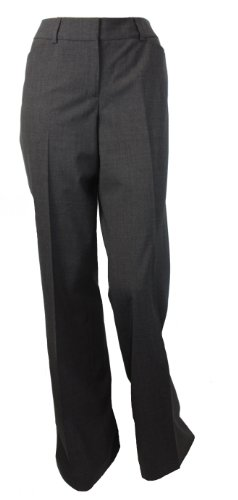 Womens Classic Wool Stretch Dress Pants Charcoal 4 Long