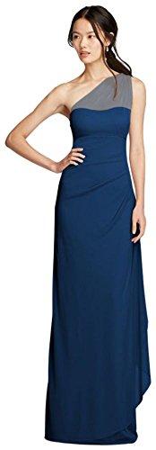 David's Bridal Long Mesh One Shoulder Illusion Bridesmaid Dress Style F19074, Marine, 26