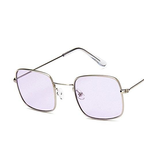 soleil And Frame Transparent de océan lentille carré soleil Pink cadre verre Lunettes lunettes de soleil transparent Gold petit Lens Rétro p1waaTq8