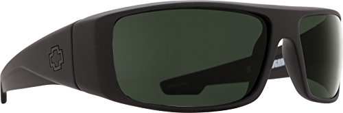 (Spy Optic Logan 670939973864 Polarized Wrap Sunglasses, (Soft Matte Black/Happy Gray/Green Polar))