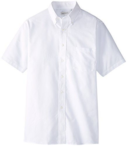 Van Heusen Men's Short Sleeve Oxford Dress Shirt, White, Large