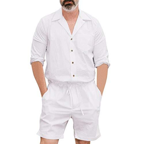 [해외]남성용 여름 점프수트 Leegor 캐주얼 면 혼방 반소매 버튼 셔츠 반바지 L 사이즈 롬퍼 / Men`s Summer Jumpsuit,Leegor Casual Cotton Blend Short Sleeve Button Shirt Shorts Large Size Romper White