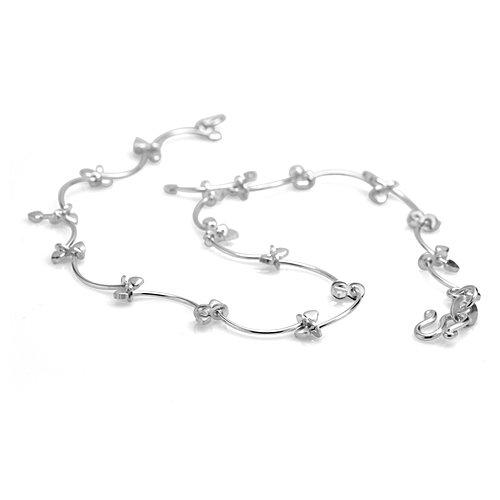 925 Sterling Silver Stylish Leaf Vine Anklet, 9.5 inches