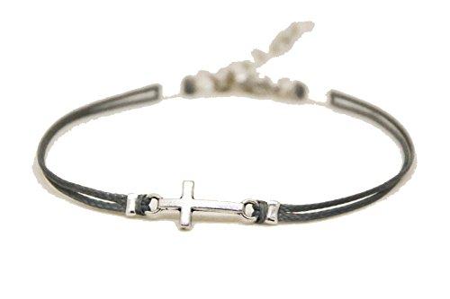 Bracelet, silver cross bracelet, dainty gray cord bracelet, cross charm, gift for her, minimalist jewelry, christian catholic jewelry