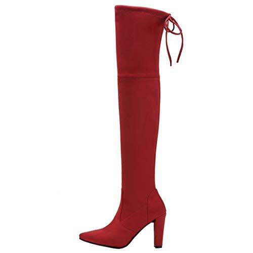 Mujer Color Talla 37 Eu Rojo Terciopelo Aiyoumei Botas Clásicas De qwCPx4WUH