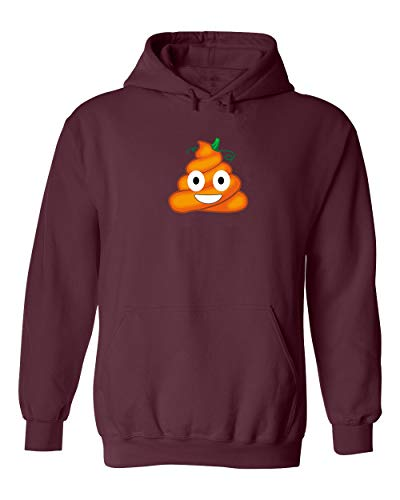 Falcon's Shop FUUNY Smiley Face Poo Halloween Costume Unisex Pullover Hoodie Hooded (Maroon,Large) -