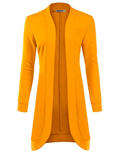 TWINTH Essential Solid Open Front Long Knited Cardigan Sweater for Women Mustard X-Large