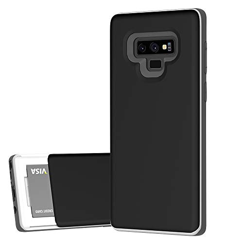 DesignSkin Note 9 Sliding Card Holder Case, Extreme Heavy Duty Triple Layer Bumper Protection Wallet Cover with Storage Slot Slider for Samsung Note9 - Black Titanium ()