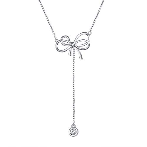 925 Sterling Silver Dainty Ribbon Bow Y Necklace for Women Girls Jeweley Birthday Graduation Gift, 16