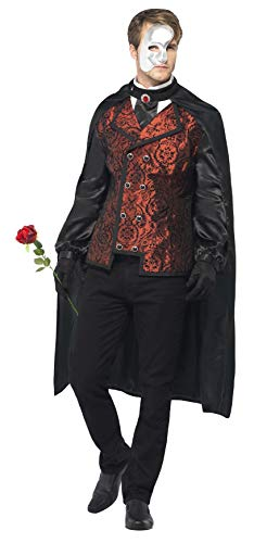 Smiffys Men_s Dark Opera Masquerade Costume  Cape  Mock Shirt  Mask  Gloves and Faux Rose  Carnival of the Damned  Halloween  Size L  24574, red|black -