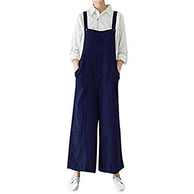 2018 Women's Cotton Cargo Pants Bib Overalls Dungaree Wide Leg Trousers Jumpsuit by-NEWONESUN