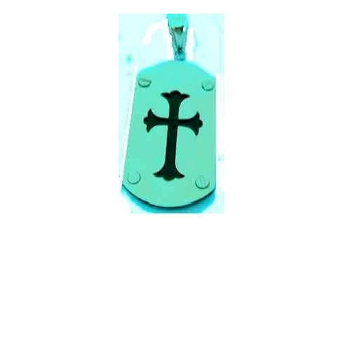Cross Dog Tag Pendant Stainless Steel with Lucite Center, 24
