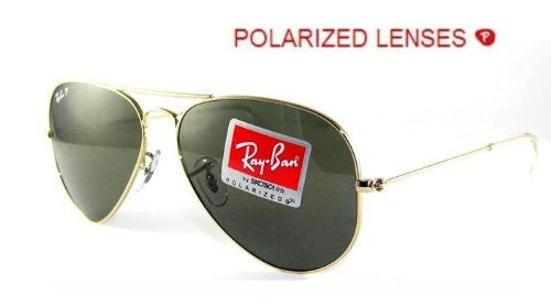 Ray-Ban RB3025 Aviator Large Metal Sunglasses 58 mm, Polarized, Arista Gold/Polarized Crystal - Ban Ray Authenticity