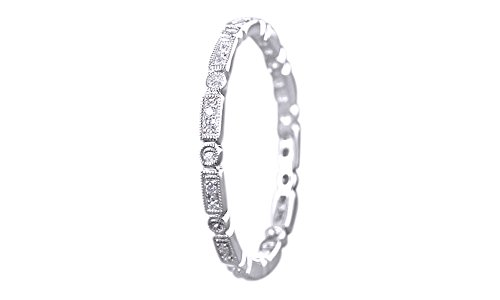 Full Eternity Art Deco 0.2 Ct Natural Diamond Engagement Band Ring In 10K Solid White Gold