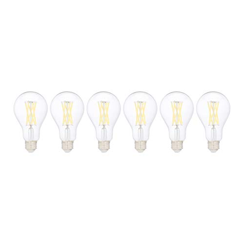 Amazon Basics 100W Equivalent, Clear, Daylight, Non-Dimmable, 10,000 Hour Lifetime, A19 LED Light Bulb | 6-Pack