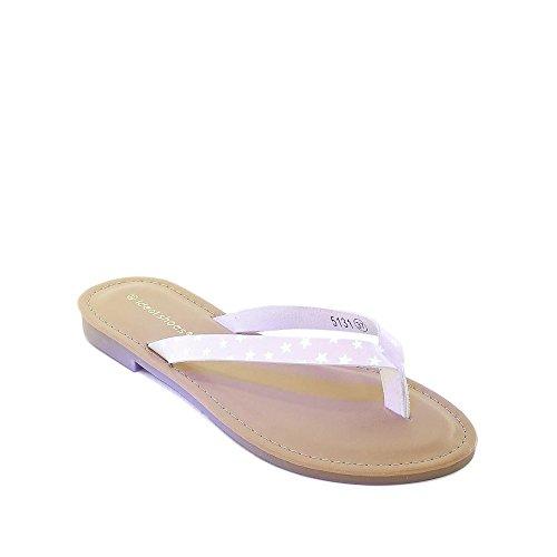 Ideal Shoes, Damen Zehentrenner Weiß