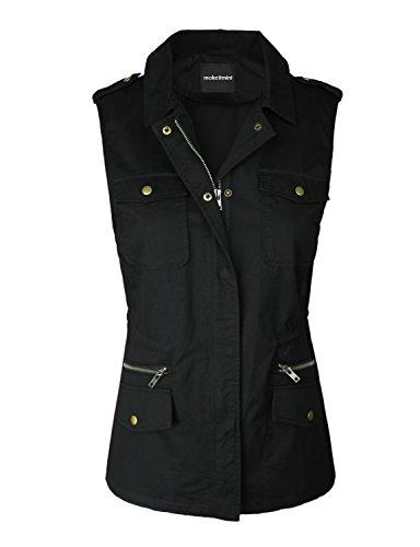 Sleeveless Cropped (makeitmint Women's Cropped Distressed Sleeveless Denim Vest w/Pockets [S-3XL] Small YJV0018_19BLACK)