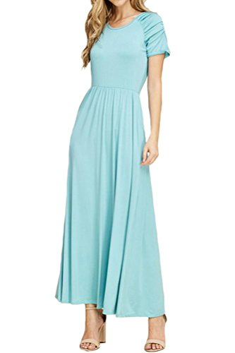 iconic luxe Women's Shirred Shoulder Maxi Dress with Pocket Large Robin ()