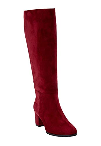 - The Daniela Wide Calf Boot - Rich Burgundy, 10 1/2W