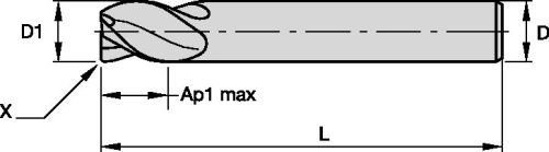 WIDIA Hanita TF4VP507012 VariMill I 4VP5 HP Finishing/Roughing End Mill, 0.016'' Chamfer, 0.25'' Cutting Diameter, Carbide, TiAlN Coating, RH Cut, 4-Flute