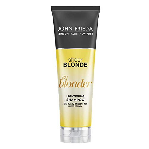 - John Frieda Sheer Blonde Go Blonder Shampoo, 8.3 Ounce Gradual Lightening Shampoo, with citrus and chamomile, featuring our BlondMend Technology