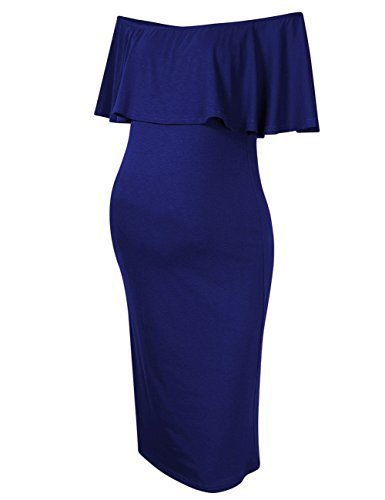 Coolmee Women's Maternity Dress Off Shoulder Casual Maxi Dress (M, Navy Blue)