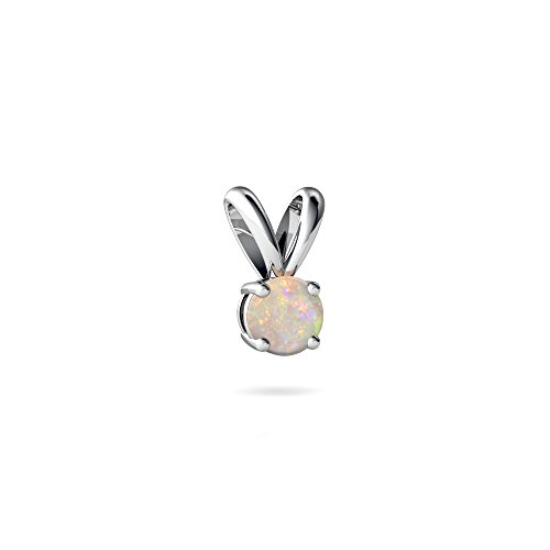 14kt White Gold Opal 4mm Round Solitaire Pendant