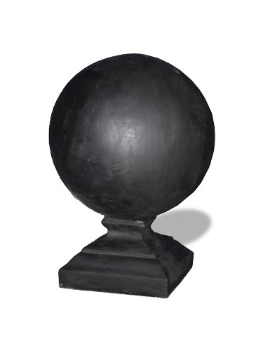 Amedeo Design ResinStone 1700-6B Round Cap Finial, 18 by 18 by 25-Inch, Black