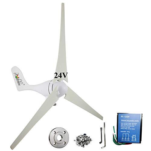 Wind Turbine Generator Kit 400Watt DC24V Indoor Outdoor Using 3 Blades Marine, rv, Homes, Businesses Industrial Energy Supplementation+ Controller +Flange